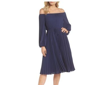 Gal Meets Glam Elise Off Shoulder Pleated Dress